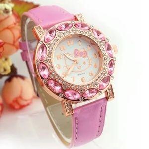 💗💗Pink Hello Kitty crystal gemstone watch